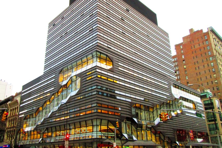 The building exterior of the New School in New York