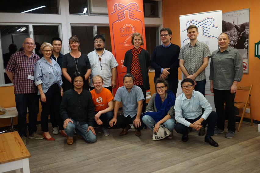 Group picture of a small group at the Platform Cooperativism Consortium conference 2018 in Hong Kong